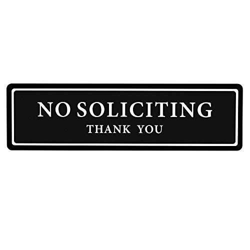 Premium No Soliciting Thank You Sign for House/Office, Self Adhesive Modern Design Door Sig 2.35' x 8.25'Home Décor Accessories Door Or Wall, White Big Letters on Black Plate