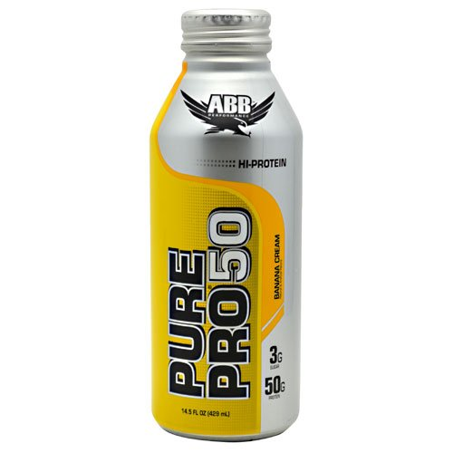 ABB Pure Pro 50 - Ready to Drink Super-High Protein Shake, Banana Cream, 12 bottles (14.5oz)