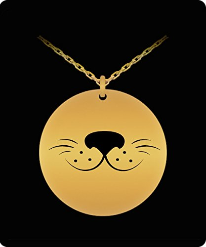 Laser Engraved Necklace - 18k Gold Plated Round Pendant - Cute Dog Smile Design - Small Charm
