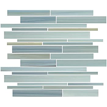 """4"""" x 6"""" Sample - Reflections Hand Painted Linear Glass Mosaic Tiles"""