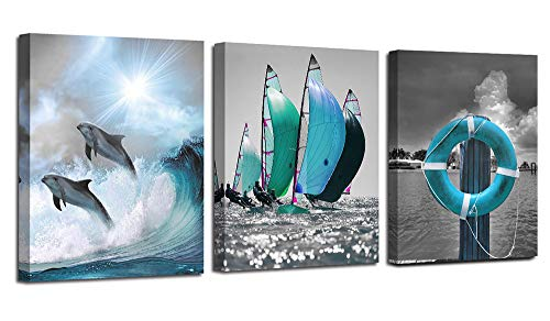 Ardemy Canvas Wall Art Ocean Teal Blue Dolphin Painting Sailboat Pictures, Modern Seascape 3 Panels 12