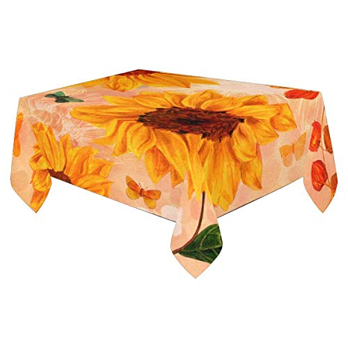 InterestPrint Tablecloths Linen 84x60 Inch Dust-Proof Table Covers for Kitchen Dinning Tabletop Decoration Sunflowers, Leaves, and Butterflies