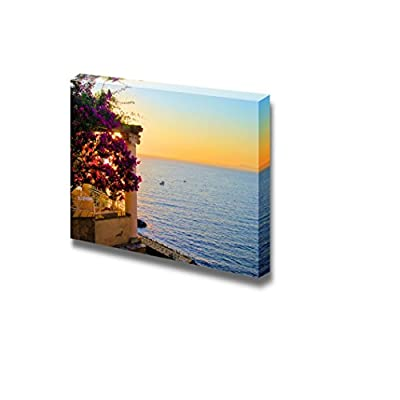 Canvas Prints Wall Art - View from Sorrento, Italy at Dusk from a Flower Draped Terrace | Modern Wall Decor/Home Art Stretched Gallery Canvas Wrap Giclee Print & Ready to Hang - 24