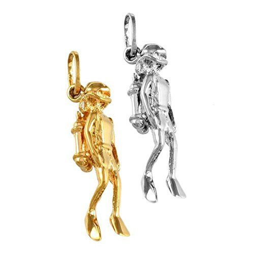 Handcrafted Scuba Diver Charm in 14k Yellow Gold or Sterling (Scuba Diver Waves)