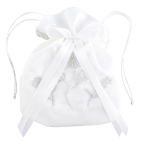 (White Satin First Communion Drawstring Purse with Embroidered Flowers and Bow, 7 Inch)