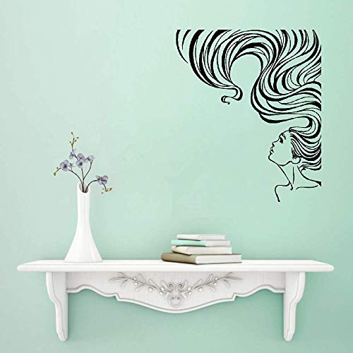 Pouatz Wall Stickers Decal Removable Vinyl Decal Quote Art Woman Long Hair Beauty Salon