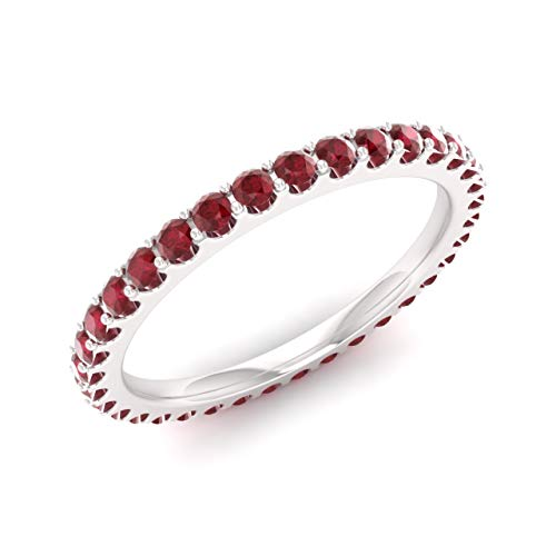 Diamondere Natural and Certified Ruby Wedding Ring in 14K White Gold |1.02 Carat Full Eternity Stackable Band for Women, US Size 6