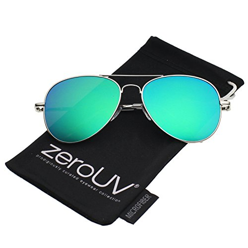 zeroUV - Small Full Metal Color Mirror Teardrop Flat Lens Aviator Sunglasses 56mm (Silver / Green - Small Aviators
