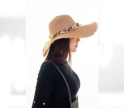 39bd9c791 2019 Women Summer Sun Hat with A Large Brim Ladies Flowers Burr ...