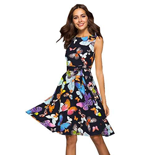 ☆HebeTop Women Butterfly Print Button Up Split Flowy Party Maxi Dress Black ()
