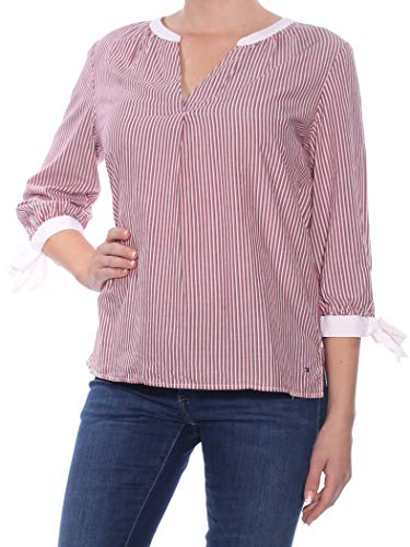 s Striped 3/4 Sleeves Blouse Red M ()