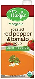 Pacific Foods Light Sodium Organic Roasted Red Pepper and Tomato Soup, 32-Ounce Cartons, 12-Pack