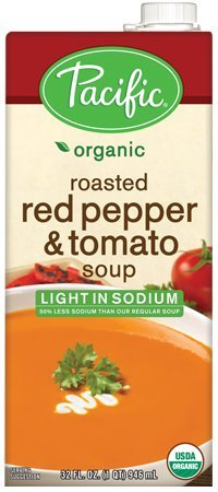 Pacific Foods Organic Creamy Roasted Red Pepper & Tomato Soup, Light Sodium, 32oz, 12-pack by Pacific Natural Foods