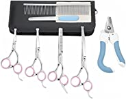POPETPOP kit de tesouras para cuidados com cães com ponta redonda de segurança 4 CR de aço inoxidável para cui
