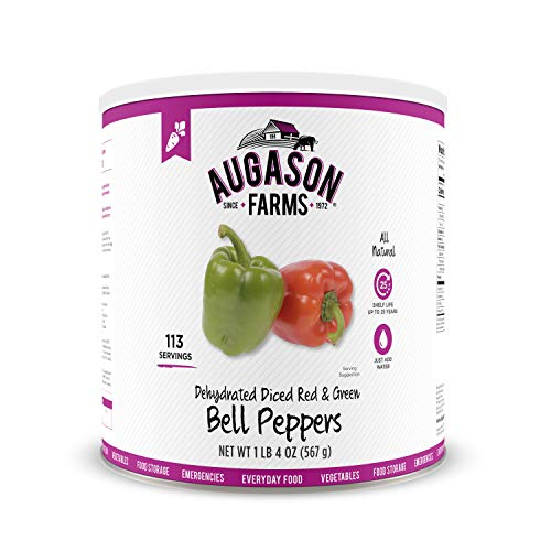 Augason Farms Dehydrated Diced Red & Green Bell Peppers No. 10 Can Pack Of 3 Cans 3-pack (no. 10 can)