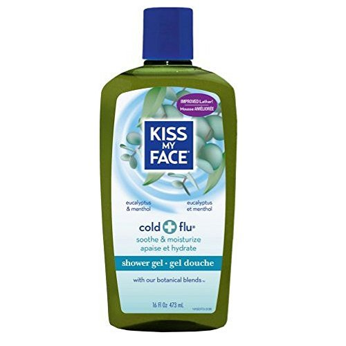 Kiss My Face Cold + Flu Shower Gel, Eucalyptus & Menthol 16 oz (Pack of 3)