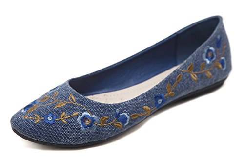 Aisun Women's Breathable Round Toe Print Flower Loafer Flats Shoes Dark Blue 5GnzVkdt