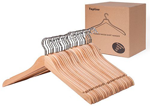 Topline Classic Wood Shirt Hangers - Natural Finish (30-Pack)