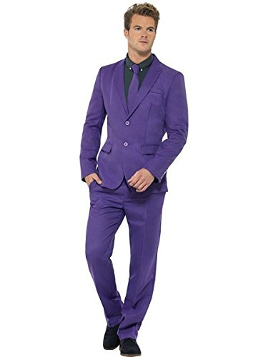 Smiffys Men's Purple Suit, Stand Out Suits, Jacket, pants and Tie, Stand out Suits, Serious Fun, Size M, -