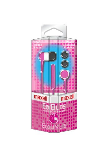 025215370540 - Maxell 190304 - IEMICPNK Stereo In-Ear Earbuds with Microphone  (Pink) carousel main 1