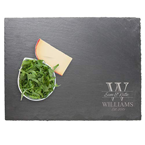 Monogrammed Slate Cheese Board Sampler Tray - Custom Engraved Wedding Couples Name Gift - With Free - Engraved Slate