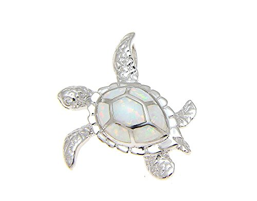 925 Sterling silver Hawaiian honu sea turtle white synthetic opal cz eye slider pendant 25mm