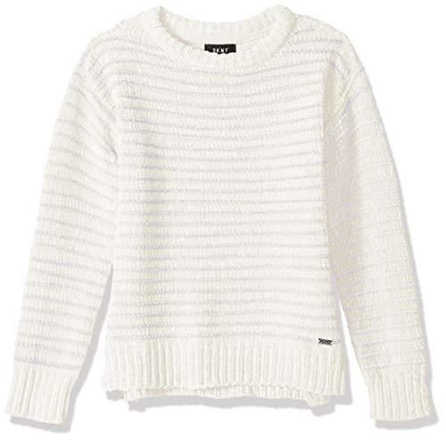 - DKNY Girls' Little Metallic Stripe Chenille Sweater, Vanilla ice, 5