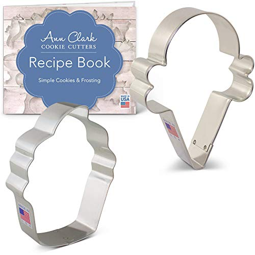 Sweet Treats Cookie Cutter Set with Recipe Booklet - 2 piece - Cupcake & Ice Cream Cone - Ann Clark - USA Made Steel ()