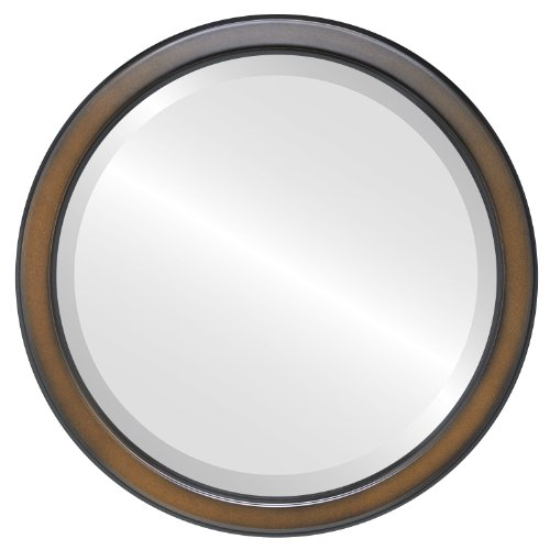 Round Beveled Wall Mirror for Home Decor - Toronto Style - Walnut - 16x16 outside dimensions