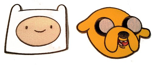 (Adventure Time Cartoon TV Show SET of TWO - Jake and Finn Iron on Patch)