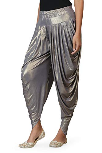 Trendy Salwar - Legis Shimmer Blend Relaxed Comfortable Dhoti Pants Yoga Fitness Active Wear for Women Dance - Free Size (Brown)