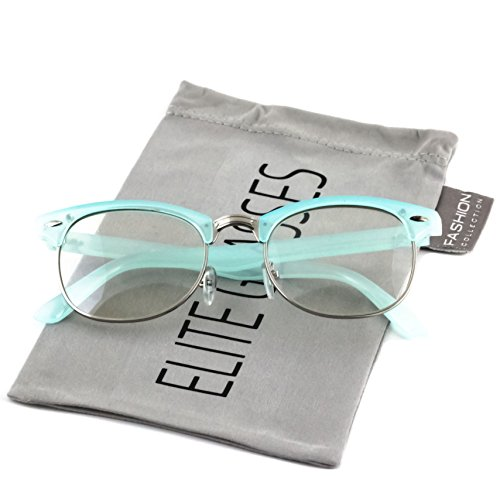 Elite Classic Horned Rim Semi Rimless Sunglasses Men Women Retro Brand Clubmaster Glasses 50mm (Turquoise-Silver, - Glasses Turquoise Frames