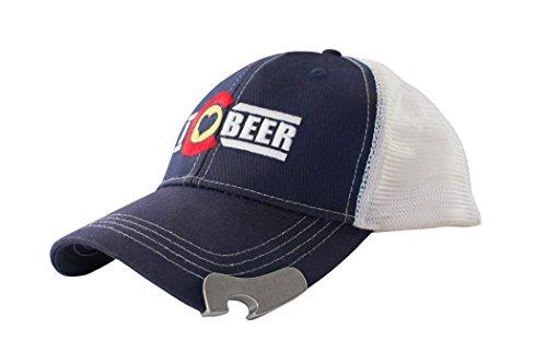 Bottle Opener Cap - I Love Colorado Beer Trucker Hat with Bottle Opener (Blue)