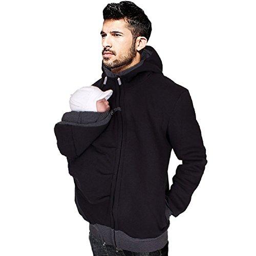 Maternity Sweater Jacket (Rexury Men's Kangaroo Fleece Sweatshirt Hoodie Jacket Coat For Dad Pouch Version Jacket, Pure Black, Large)