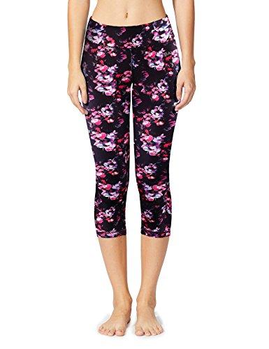 Baleaf Women's Tummy Control Workout Printed Yoga Capri Pants Hidden Pocket Floral Black Size M