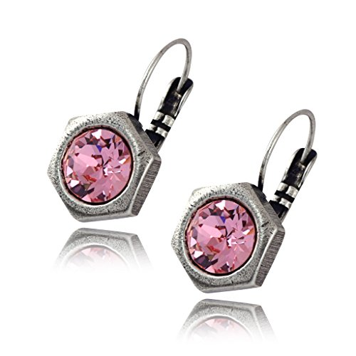 Nara Hexagon Earrings, Silver Plated Honeycomb Bolt on French Leverback Drop with Pink Crystal