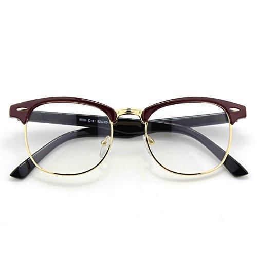 [Happy Store CN56 Vintage Inspired Horn Rimmed Nerd Wayfarers UV400 Clear Lens Glasses,Red Black] (Geek Chic Glasses)