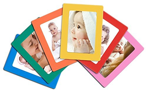 12-pack Magnetic Picture Frames for Refrigerator 2.5x3.5 Wallet size colorful photo note schedule holder By Lubber