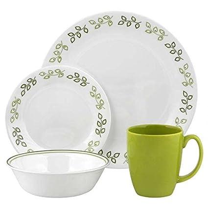 amazon com corelle contours neo leaf 16 piece dinnerware set rh amazon com