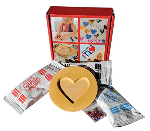 Heart Plaster - MeeMold Heart - Easy Craft Kit with Plaster Mold, Playdough and Beads