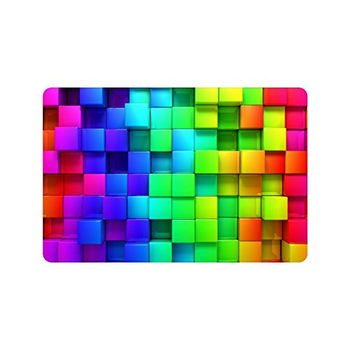 Wizardry1986 Geometric Colorful Blocks Doormat Abstract Cube Shapes Floor Mat With Non-Slip Backing Rainbow Color Bath Mat Rug Excellent Home Decor 3D Effect 23.6