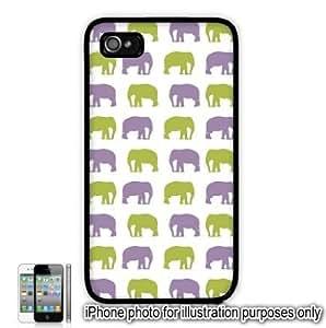 Purple Green Elephants Monogram Pattern Apple iPhone 4 4S Case Cover Skin Black