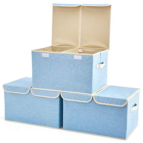 Large Storage Boxes [3-Pack] EZOWare Baby Blue Linen Fabric Foldable Storage Cubes Bin Box Containers with Lid and Handles for Nursery, Closet, Kids Room, Toys, Baby Products
