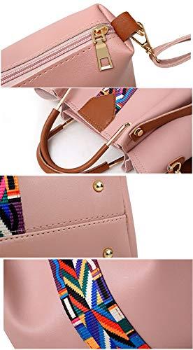 En Sac set Femmes Casual 4 Composite Grande Épaule tout Fourre Cuir Pink Sacs Rubans Mode Bandoulière Capacité Pcs Pu qw8AXfqpx