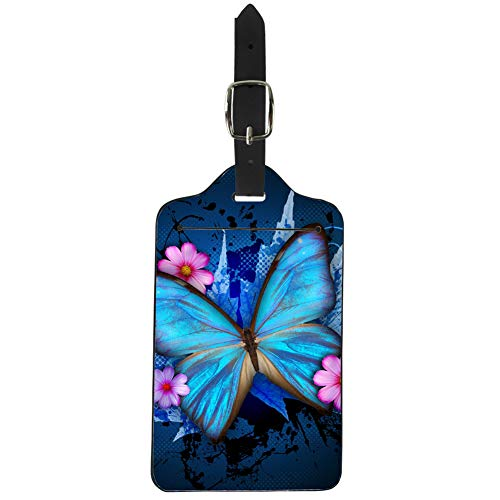 - Upetstory Ladies Women's Blue Butterfly Luggage Tag Pu Leather Suitcase Labels Bag Travel Accessories