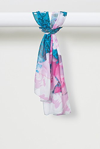 Spring Rose Pure Smooth Chiffon in Pink and Teal by Louis Jane  (''Where Nature Meets Art''TM)