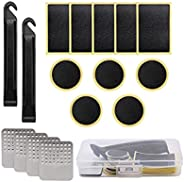 Bike Tire Patch Repair Kit,16 Pcs Bicycle Motorcycle Tire Glueless Self-Adhesive Patches with Metal Rasps for