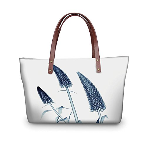 - iPrint Design the fashion for you Waterproof Women Casual Handbag Tote Bags,Xray Flower,Gooseneck Loosestrife Flower X rays Image Exotic Plants Blooms Artful Home,Teal White.