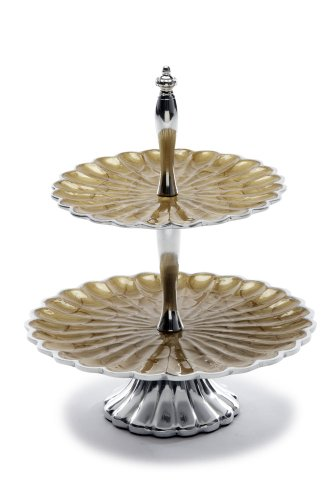 Julia Knight Peony Two-Tiered Server Plate, 11.5-Inch, Toffee, Brown (Accent Peony Plate)