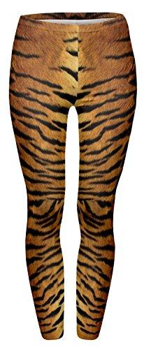 Fringoo Women's Full Length 3D Graphic Full Print Leggings Trousers One Size Fits S/M/L Tiger Fur -